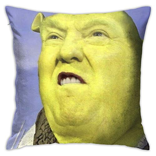 Nezuko Donald Trump Shrek Velvet Throw Pillow Cover Cozy Velvet Square Throw Pillow Case Home Decorative for Bed Couch Sofa Living Room Cushion Case 18'X18'