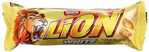 Nestlé Lion Riegel White / Crunchy Riegel aus Knusperwaffel, Getreide & Karamell umhüllt mit weißer Schokolade - vorsicht bissig / Schokoriegel 24-er Pack
