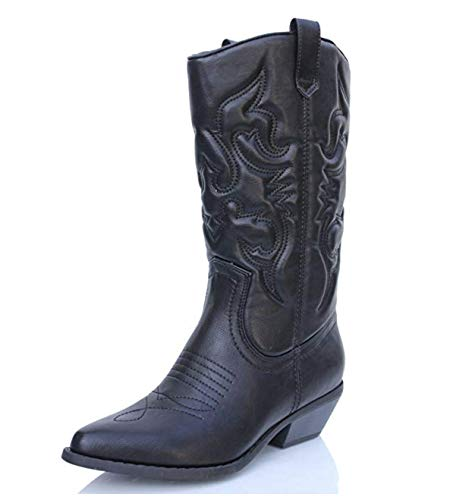 Soda Women's Red Reno Western Cowboy Pointed Toe Knee High Pull On Tabs Boots Black Pu Size 10