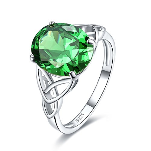 Merthus 925 Sterling Silver Created Emerald Trinity Knot Celtic Ring for Women (Green, 7)