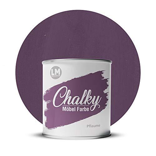 LM-Kreativ Chalky Möbelfarbe deckend 1 Liter / 1,35 kg (Pflaume), matt finish In- & Outdoor Kreide-Farbe für Shabby-Chic, Vintage und Landhaus Stil