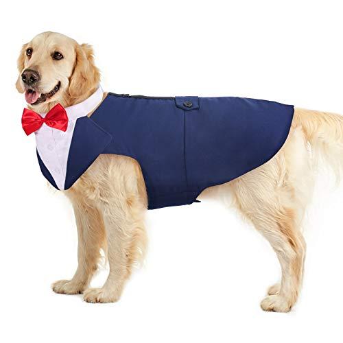 PUMYPOREITY Ropa para Perros Pajarita Esmoquin Traje Smoking Perro Mascota Boda Formal Traje Elegante con Bandana Retirable Camisa de Esmoquin Formal para Perros Pequeños Medianos Grandes(Azul,XL)