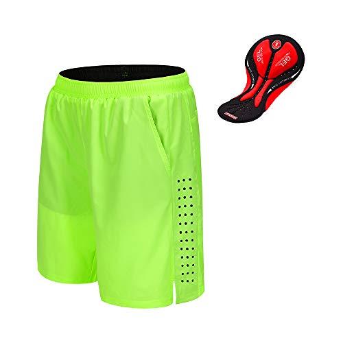 WOSAWE Pantaloncini da Ciclismo Bici Traspiranti 3D del lmbottito Mutande Corti Running Loose-Fit Mezze Pantaloni di Estate per Uomo e Donna (Verde M)