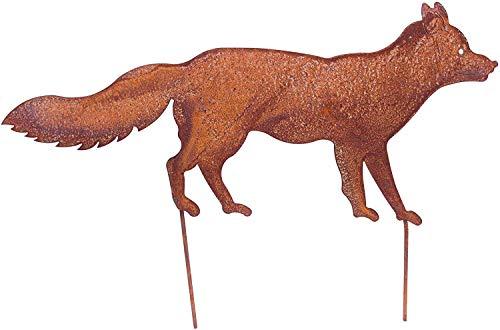 Bornhöft Gartenstecker Fuchs 66cm Metall Rost Gartendeko Edelrost rostige Gartendekoration
