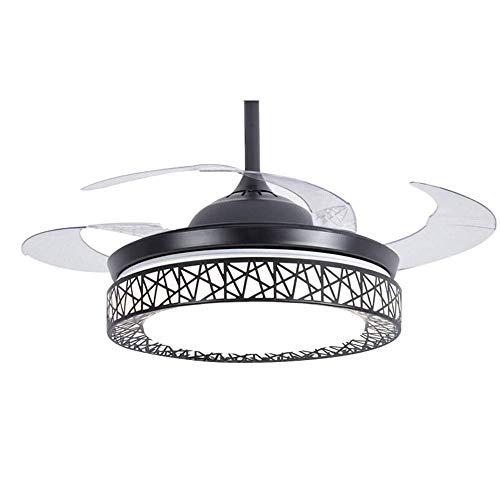 Ventilador de techo moderno con luz 4 aspas retráctiles Ventiladores de techo LED Araña nido de pájaro con control remoto Motor silencioso con luz de ventilador Creatividad Lámpara de techo