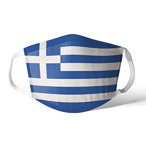 M&schutz Maske Stoffmaske Groß Notleidende Flagge Griechenland/Griechisch Wiederverwendbar Waschbar Weiches Baumwollgefühl Polyester Fabrik