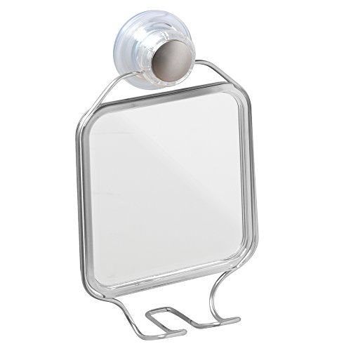 Price comparison product image iDesign Turn-N-Lock Suction Shower Mirror with Storage Hooks for Razors,  Silver