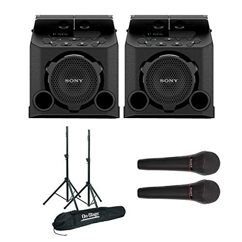 Sony PG10 Portable Bluetooth Outdoor Speakers (Pair) Bundle with 2 All-Aluminum Speaker Stands & 2 Sony mics