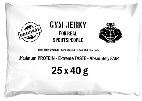 Gym Jerky Beef Original 1kg   25x40g   Proteinreicher Snack   Wenig Fett und Zucker   Hergestellt vom Deutschen Handwerk (Traditional)
