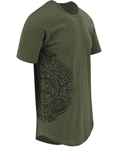 ShirtBANC Mayan Calendar Mens Hipster Long Drop Cut Tail Shirts Side Print (L, Green)