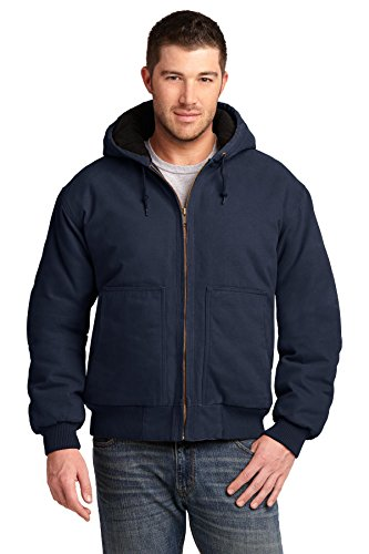 CornerStone® Washed Duck Cloth Insulated Hooded Work Jacket. CSJ41 Navy M