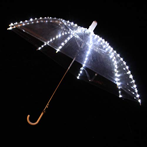 Wgwioo Glühender Transparenter Regenschirm Für Tanz Leistungen, LED Licht Leuchtender Regenschirm,White,1PCS