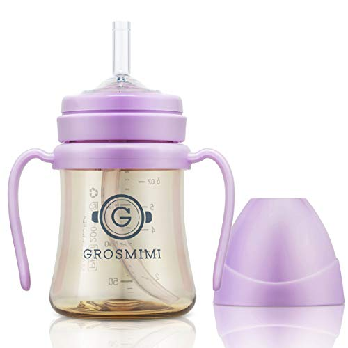 Grosmimi SpillProof no Spill Magic Sippy Cup with Straw with Handle for Baby and Toddlers, Customizable, PPSU, BPA Free, 6 oz (Pure Lavender)