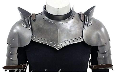 warrior point Medieval Iron Gorget Spaulders Arm Shoulder Set Viking Crusader Pauldrons Armor