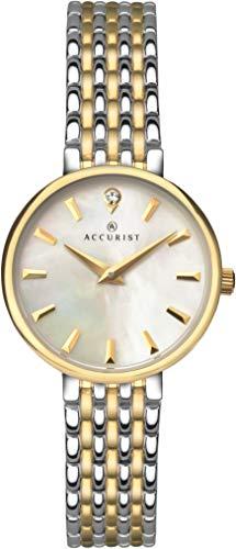 Accurist Damen Analog Quarz Uhr mit Edelstahl Armband 8154