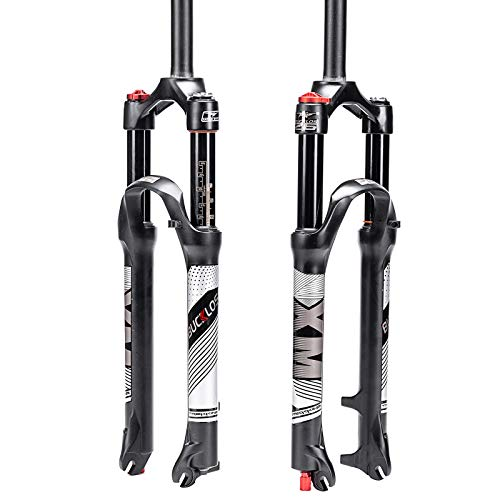 BUCKLOS 【UK Stock】 26/27.5/29 Travel 120mm MTB Air Suspension Fork, Rebound Adjust 1 1/8 Straight Tube QR 9mm Manual Lockout XC AM Ultralight Mountain Bike Front Forks