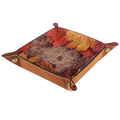 Bandeja de cuero,Bunch Hojas de otoño en Shabby Chic ,Bandeja de cuero plegable para reloj de joyería de monedas de llave de almacenamiento