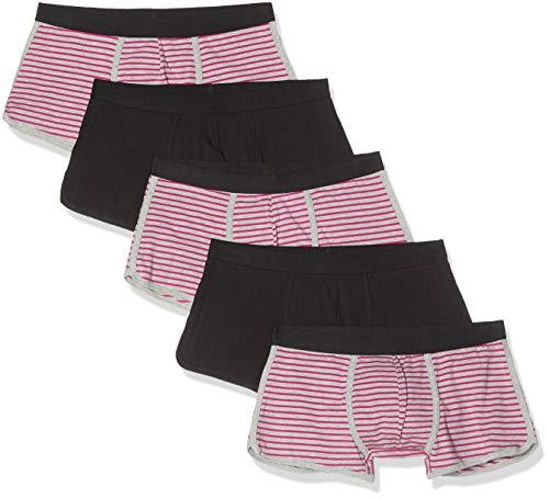 Amazon-Marke: find. Herren Boxershorts im 5er-Pack, Mehrfarbig (Neon Pink & Grey Stripes/ Black), L, Label: L