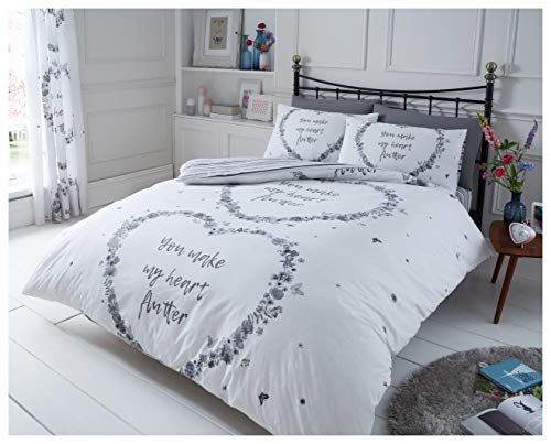 GoldStar Flutter Grey Super Kng Duvet Quilt Cover With Pillowcase Reversible Polycotton Floral Heart Butterfly Bedding Set