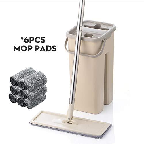 Flat Squeeze mop en emmer handsfree twist vloerreiniging mop microvezel mop pad nat en droog op hardhout laminaat 6 stuks mop doeken gebruikt