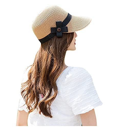 BIBOKAOKE Chapeau de paille pour femme - Protection solaire - Protection UV - Chapeau de plage - Pare-soleil - Visière pour femme et fille - Large bord élégant - Chapeau d'été - Beige - Medium