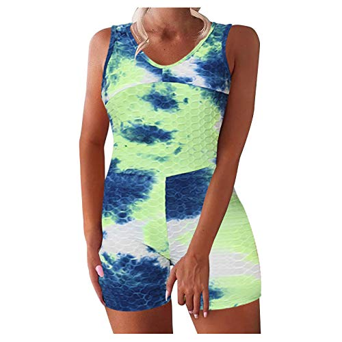Fcostume Damen Crop Tops Quadratischem Hals Hoher Taille Leggings Shorts Yoga Outfits 2-teiliges Trainingsanzug Set