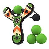 Mighty Fun Mischief Maker Wooden Toy Slingshot Real Wood and Soft Foam Balls (Green Classic)