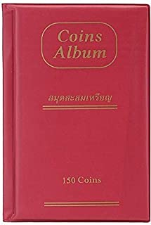 House of Quirk 150 Pockets Coin Holder Collection Coin Storage Album Book for Collectors, Money Penny Pocket - Red