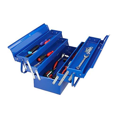 Relaxdays Caja Herramientas Vacía con Asa, Maletín Almacenaje, 5 Compartimentos, Metal, 21 x 53 x 20 cm, Azul