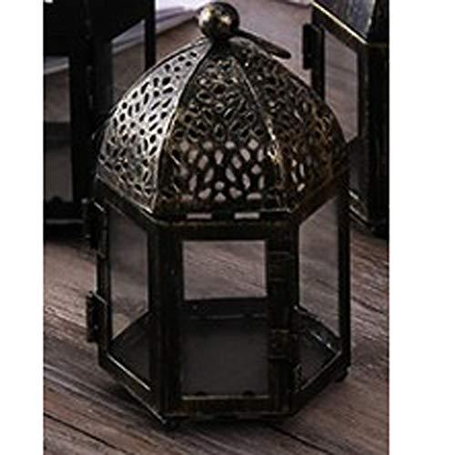 NanXi Kerzenständer für Glaslampe - Kerzenhalter - Iron Wind Lampe von Marokko Schmiede für Hochzeit Home Decoration,C