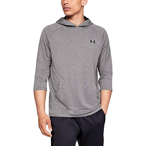 Under Armour UA Tech 3/4 SLV Hoodie 2.0 T-Shirt à Manches Longues Homme, Charcoal Medium Heather, FR (Taille Fabricant : LG)