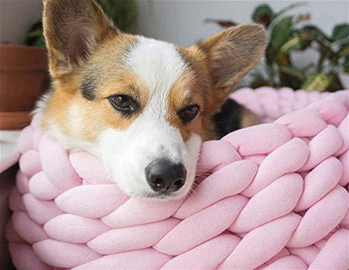 DHGTEP Cama para Perro Redonda y Esponjosa Cesta Tejida a Mano Sofá Lavable Cesta para Gato Algodón Suave Cama para Perro Relleno (Color : Rosa, Size : 50CM)