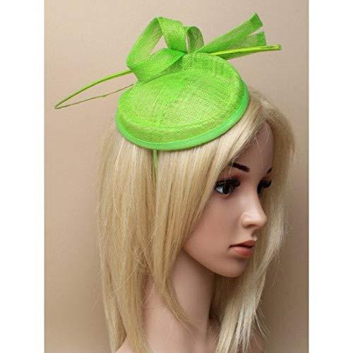 Da donna verde lime sinamay fascinator cerchietto con passanti e legno viticcio