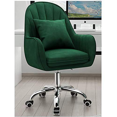 PLAYH Bürostuhl Modernes Design Samt Bürostuhl Ergonomische Computerstühle Mit Mittlerer Rückenlehne Home Desk Chair Verstellbarer Drehstuhl (Color : Green)