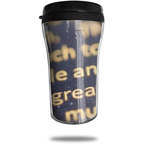 Inscripciones Letras Textura Taza de café de viaje Taza de vacío portátil impresa, Taza de té aislada Vasos de botella de agua para beber