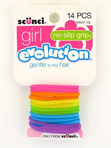 Scunci Girl Evolution No Slip Grip Gel Elastics - 14 Pcs.
