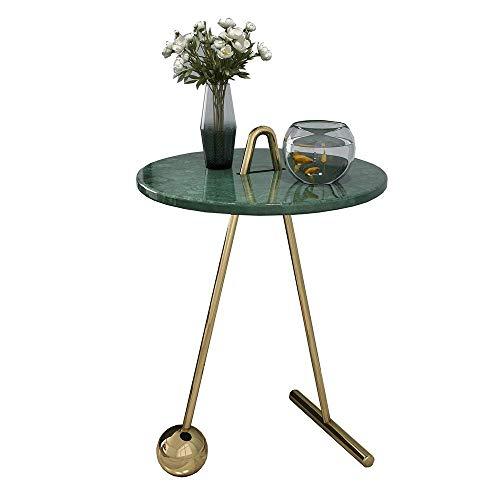 Carl Artbay Home&Selected Furniture/Nordic marmer bijzettafel goud-ijzeren kunst mini kleine ronde tafel slaapkamer nachtkastje balkon salontafel, 17,7 inch, 22,8 inch (kleur: wit)
