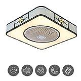 Lámpara de Ventilador de Techo Ventilador Invisible Creativo Luz de Techo LED Control Remoto Lámpara de Ventilador Regulable Sala de Estar Moderna Dormitorio Luz de Techo de Guarde