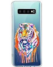 Oihxse Compatible con Samsung Galaxy M30/A40S Funda Suave Gel TPU Silicona Cristal Transparente Carcasa Acuarela Animal Pintado Patrón Protectora Estuche Bumper Caso Case (B4)
