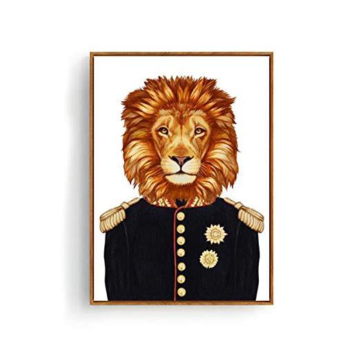 Geiqianjiumai Vintage gewone dier linnen schilderij hert leeuw tijger muurkunst poster afbeelding studie decoratie zonder lijst 30x40 cm