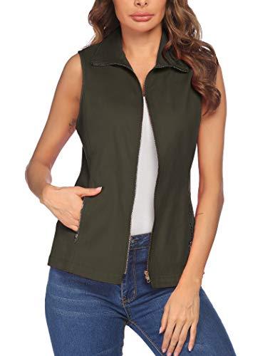 Vest Jackets for Women, Dealwell Lightweight Sleeveless Military Vest Plus Size (Army Green XXL)