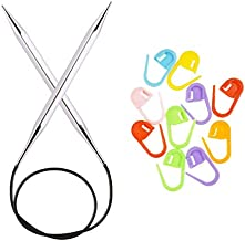 Knitter's Pride Knitting Needles Cubics Nova Platina Circular 16 inch (40cm) Size 5 (3.75mm) Bundle with 10 Artsiga Crafts Stitch Markers 320186