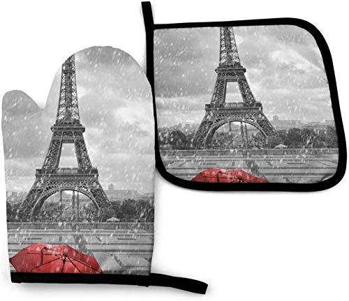 Torre Eiffel con sombrilla roja, guantes de cocina para horno y soportes para ollas, juegos de 2, guantes de poliéster resistentes, impermeables, para horno, guantes de cocina para cocinar, hornear