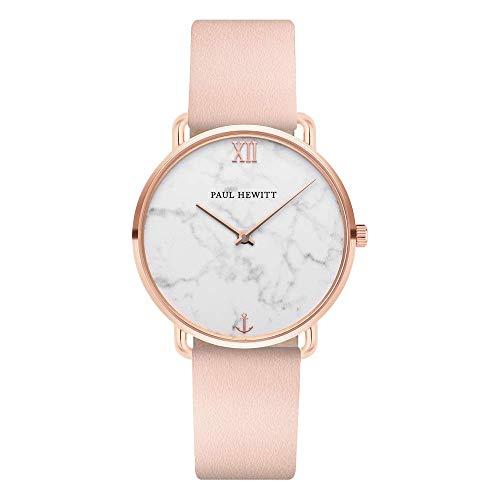 PAUL HEWITT Armbanduhr Damen Miss Ocean Marble - Damen Uhr (Rosegold), Damenuhr mit Lederarmband (Nude), Ziffernblatt im Marmor-Style