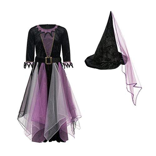 Kostümplanet® Hexen-Kostüm Kinder Mädchen + Hexen-Hut Halloween Hexe lila-schwarz 128