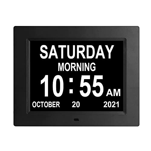8 INCH Digital Calendar Day Clock with 3 Medication Reminders Large Display Bold Non-Abbreviated Day Date Time Dementia Clocks for Senior Elderly...