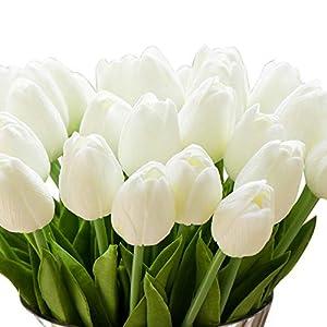 Silk Flower Arrangements Montout 12PCS/Set PU Stunning Holland Tulip Flower Real Touch Artificial Silk Flowers Arrangement Bouquet Home Room Office Wedding Party Decor (White)