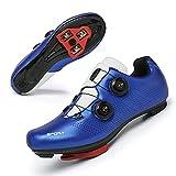 Zapatillas Ciclismo Carretera Hombre Bicicleta Carretera MTB Tacos Respirables calas Pedales Mountain Interior Zapatillas de Ciclismo (Azul, Numeric_45)