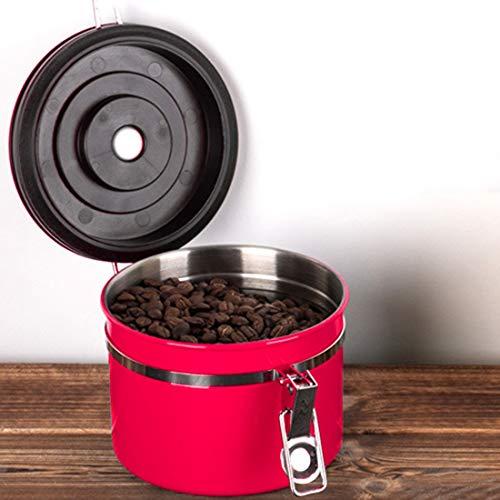 Koffiemachine 1200ml roestvrij staal verzegeld voedsel koffie gronden bonen opslag container met ingebouwde CO2 gasklep & kalender (zwart) Rood