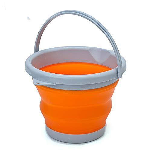 Faltbarer Silikoneimer 5L Reinigungseimer Silikon Eimer für Reinigung Camping Angeln Küche 5 Liter Haushalt Eimer Beere Grün 5 L Orange